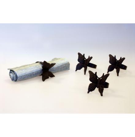Servettringar 4-pack fjäril silkflower
